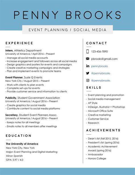 graphic design resume font 25 best ideas about event planning template on pinterest