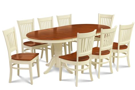 9 oval dining room table set w 8 wooden chair in