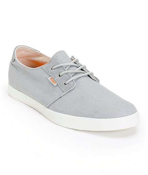 reef gallivant grey white canvas shoes