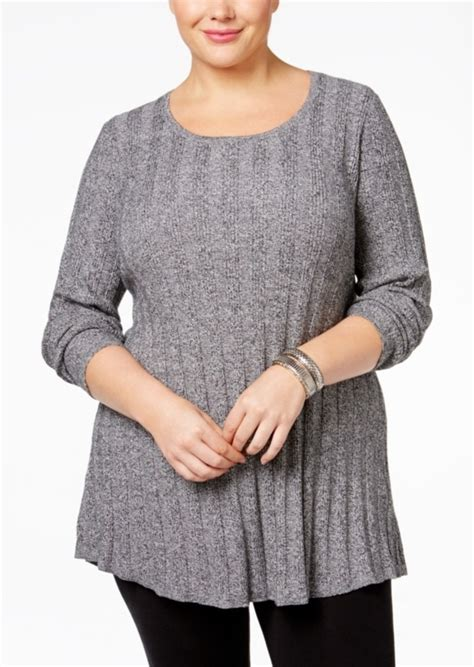 style co knit pattern tunic sweater style co style co plus size rib knit tunic sweater