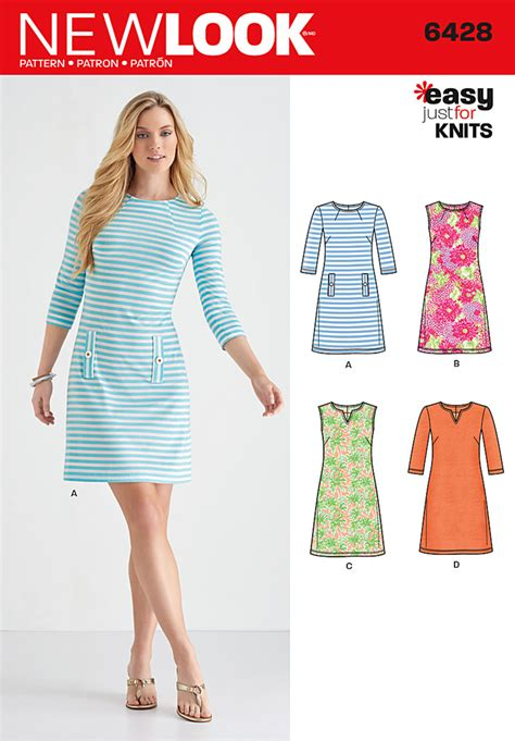 pattern design dressmaking new look 6428 misses knit dresses