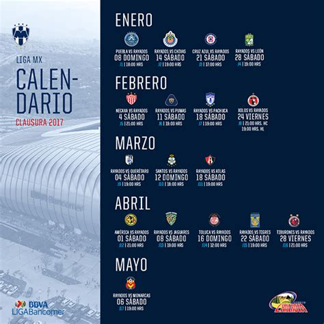 Calendario De Rayados El Calendario De Rayados En El Clausura 2017 Sitio
