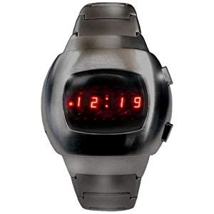 As Led Watches Aa W023 space led gun metal black iconic retro 70s style