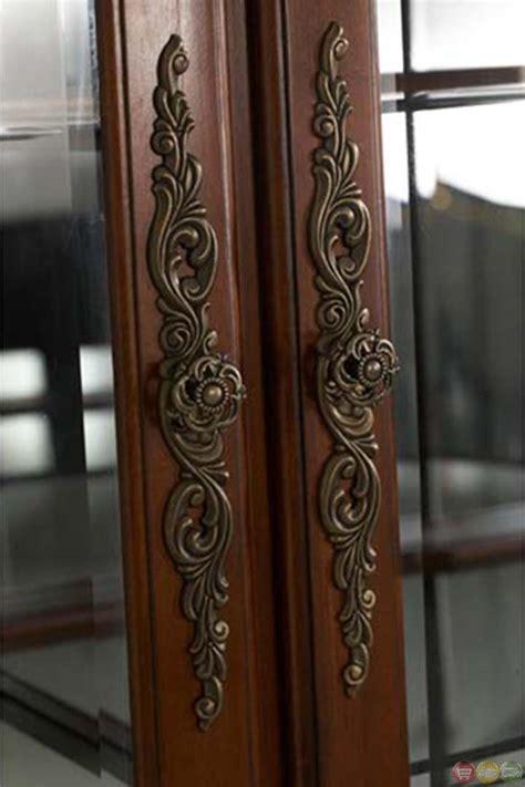 Curio Cabinet With Side Doors Michael Amini Cortina Traditional Honey Walnut Curio