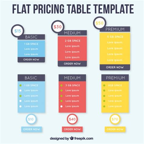 flat price table tempees com pricing tables templates in flat design vector free download