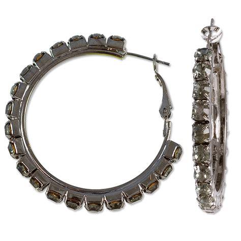 Rhinestone Hoop Earrings hoop earrings black rhinestone 1 3 4 quot gunmetal pair