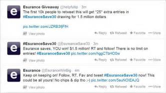 Esurance Giveaway - spam accounts swarm in as esurance giveaway sparks 3 million tweets adweek