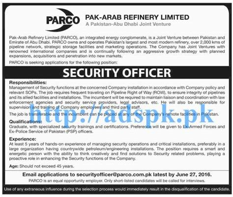 new career parco pak arab refinery ltd for security officer applications deadline 27