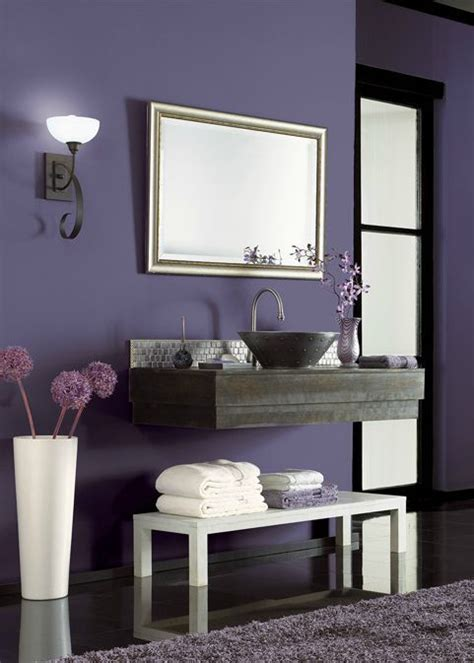 using bold colors in the bathroom when and how to do it bold behr hyacinth arbor purple adds a dramatic base to