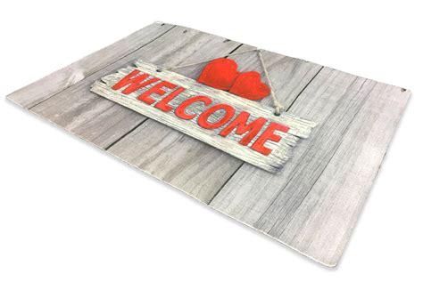 tappeto zerbino tappeto zerbino digitale con scritta welcome su fondo legno