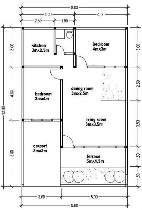compact floor plans small house plan wide 8m