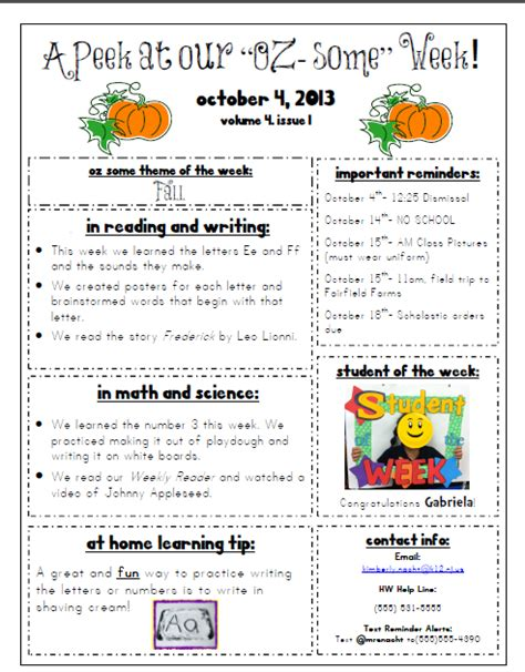 october preschool newsletter template mrs nacht s kindergarten korner