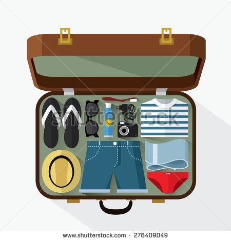 packed suitcase summer holiday vector illustration stock