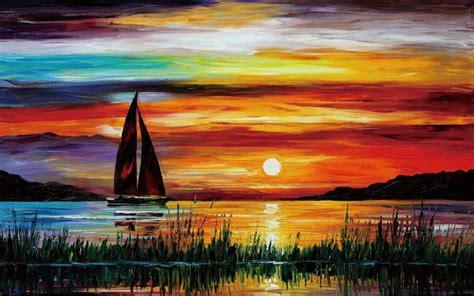 gambar 10 lukisan pemandangan matahari atau sunset terbenam di tepi pantai