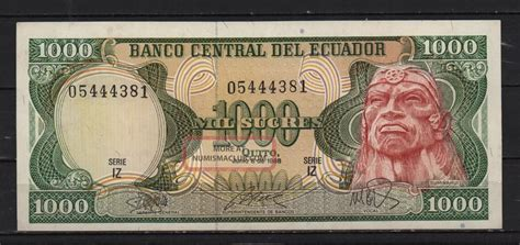 ecuador 1000 sucres jun 8 1988 note bill iz series not