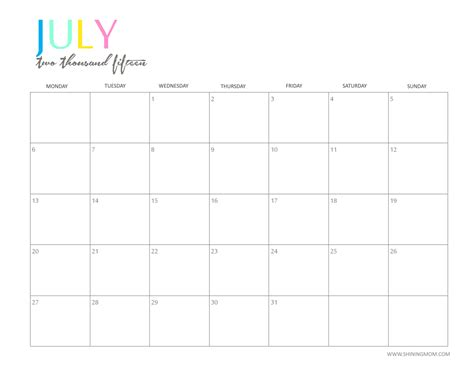printable calendar 2015 july the printable 2015 monthly calendar by shiningmom com is here