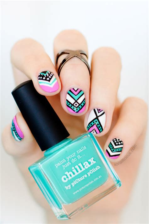 aztec pattern nail art aztec nail design for short nails