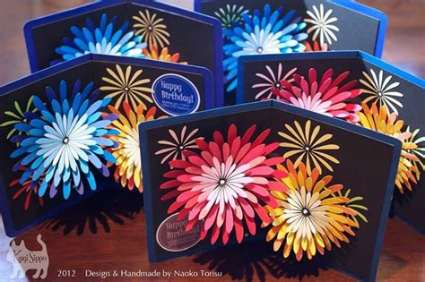 Handmade Fireworks - naoku tourisu popup card with fireworks pop up