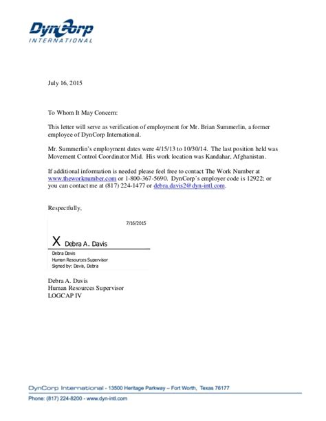 Employment Verification Letter Hhsc Dyncorp Voe