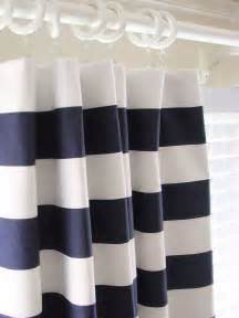 Curtains drapes 50 x 108 navy blue and white horizontal stripe rugby