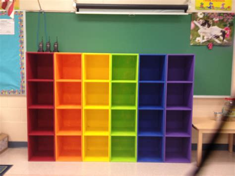 cheap bookcases for classroom diy rainbow cubbies this looks awesome in my classroom