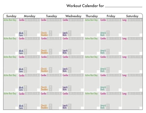 blank running training calendar