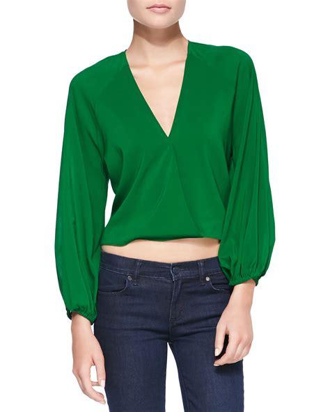 Emeral Top green borvo satin surplice crop top emerald x small lyst