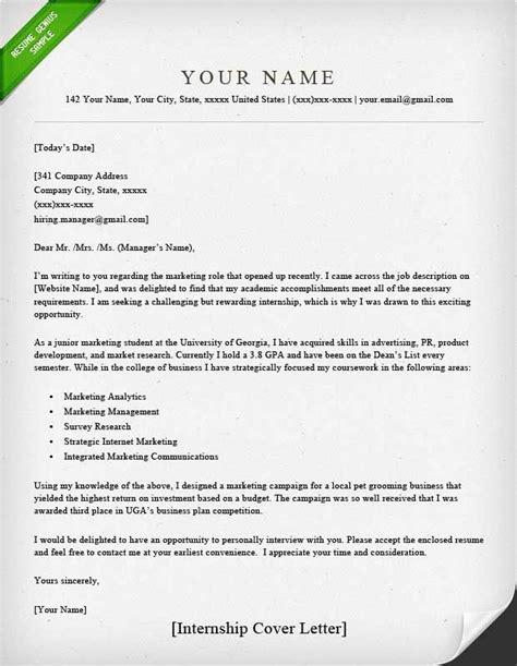 cover letter internship key writing tips
