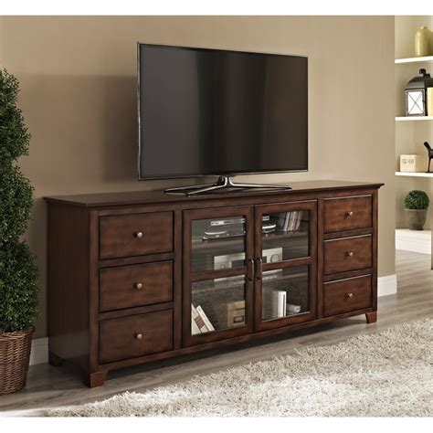 Big Lots Kitchen Furniture by Brown Wooden Tv Stand With Many Drawers Also Double Glass