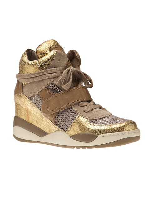 gold wedge sneaker ash wedge sneaker in gold lyst