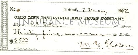 Insurance Background Check Ohio Insurance And Trust Company 1852 05 03 Checks Found In The Musuem Of