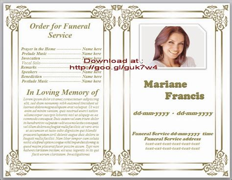 free funeral program template for word obituary templates doliquid