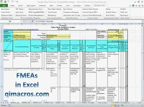 fmea template excel fmea failure modes and effects analysis in excel with
