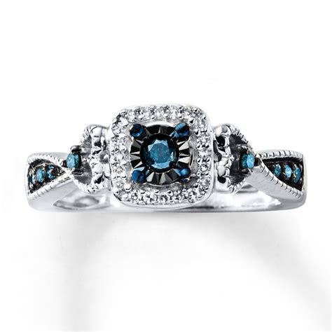blue promise ring 1 4 ct tw cut