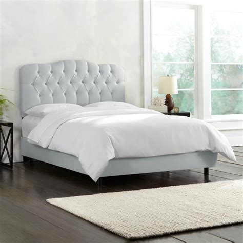 skyline bedroom furniture skyline tufted bed in silver 74xbedshnslv