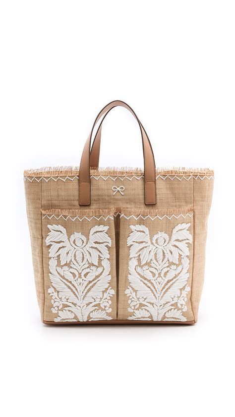 Guess The With The Anya Hindmarch Tote by Anya Hindmarch Nevis Tote With Raffia In Brown Lyst