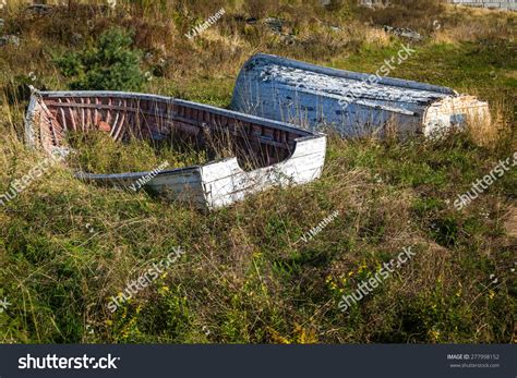 boat building newfoundland old wooden boats town brigus newfoundland stock photo