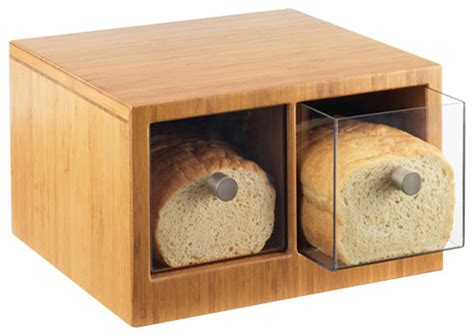 Stainless Steel Canisters Kitchen bamboo bread bin contemporary bread boxes by