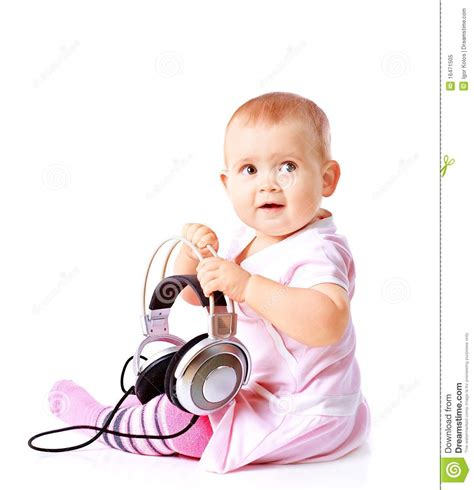 free music for babies baby girl listening music royalty free stock photo image