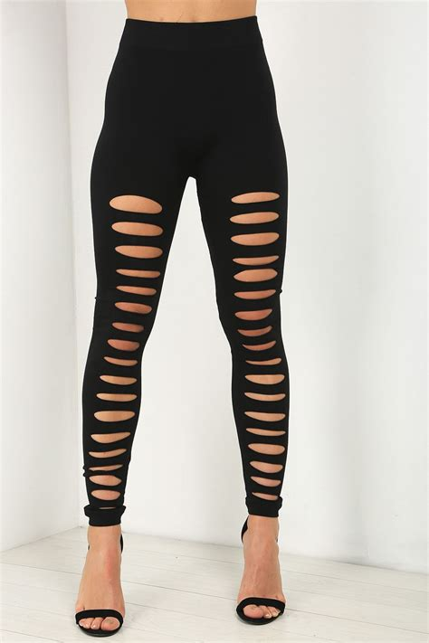 Legging Fashion Murah 2 lazer cut out womens slim fitted ripped trouser jeggings ebay