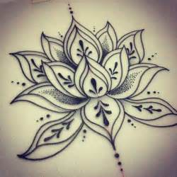 cool dotwork lotus flower tattoo design