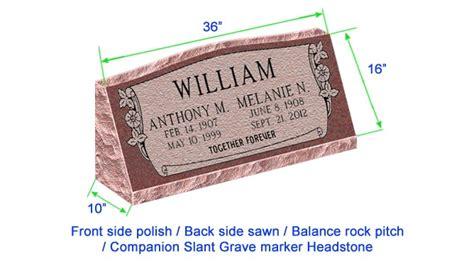 M104 Companion Slant Marker Headstone 36 Quot X10 Quot X16 Quot P1brp Grave Marker Template