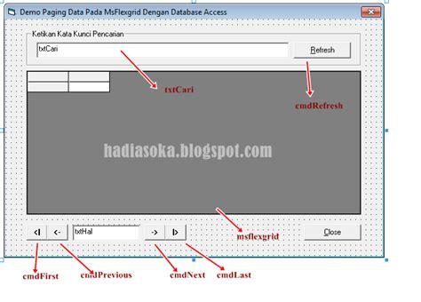 tutorial membuat database di microsoft access nixconnect membuat paging pada msflexgrid dengan database access di