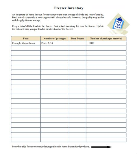 food inventory list template sle food inventory 7 document in pdf excel