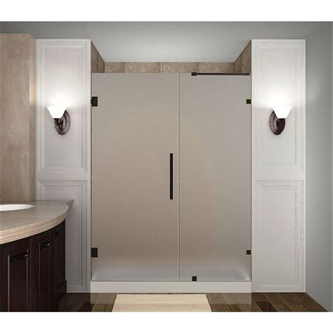 Hinged Glass Shower Doors Aston Nautis 63 In X 72 In Completely Frameless Hinged Shower Door With Frosted Glass In