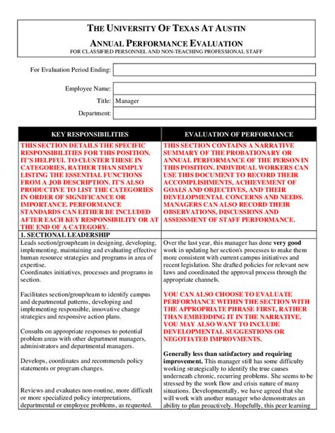 annual employee evaluation template 28 images sle