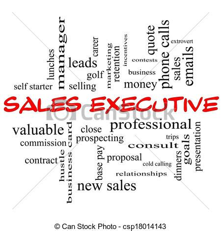 drawing of sales executive word cloud concept in caps with great csp18014143 search