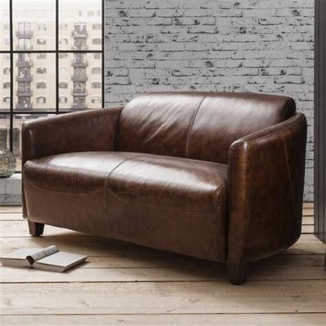 grain leather sofa uk hudson living classic top grain leather 2 seater tub sofa