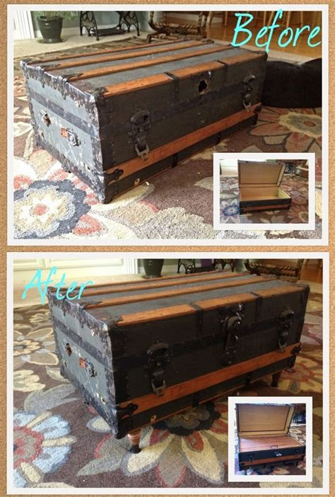 Diy Antique Trunk Coffee Table For The Home Pinterest Vintage Trunks Coffee Table