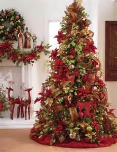 Decorative mesh ribbon on christmas trees decorating ideas